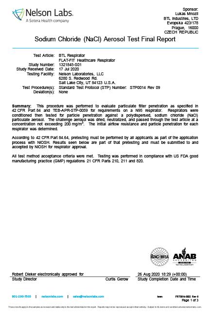 塩化ナトリウムエアロゾルテスト報告書