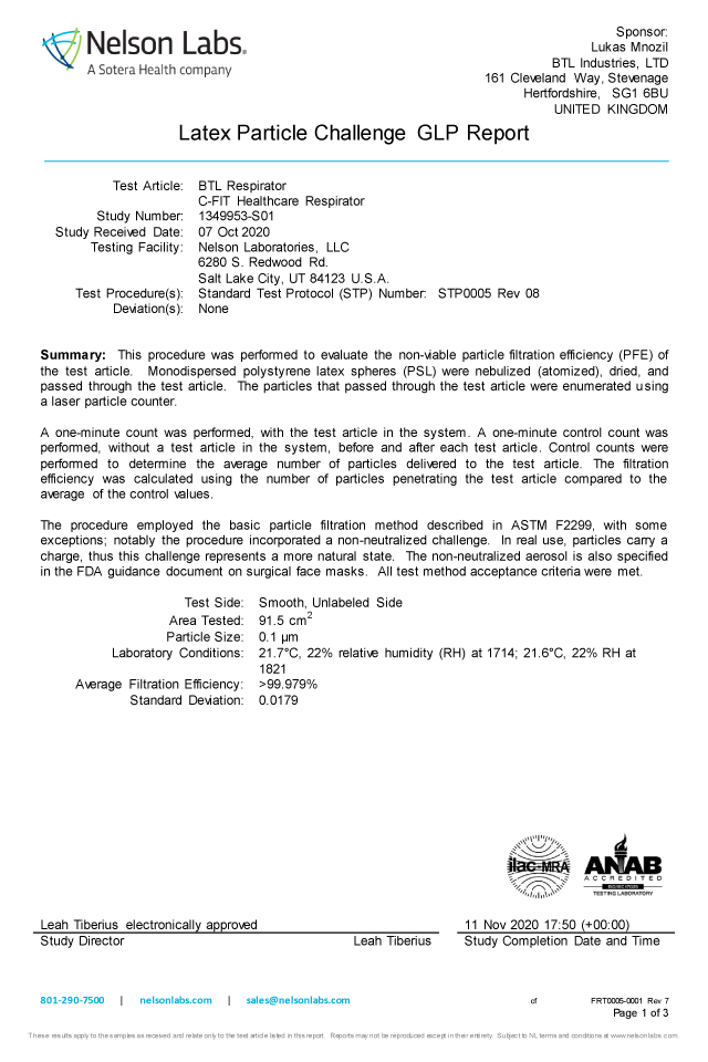 微小粒子濾過効率(PFE)試験報告書