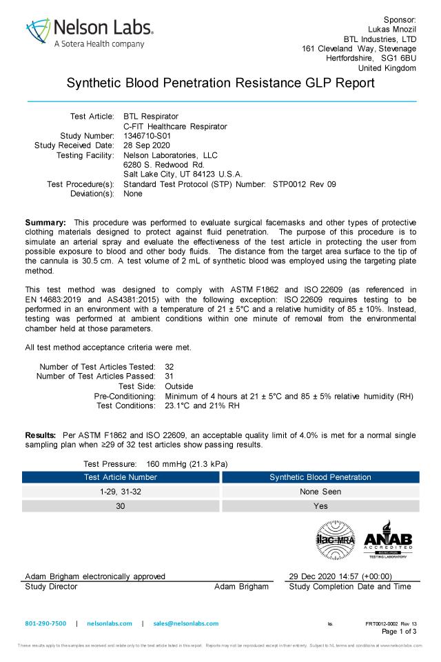 血液不浸透性(EN 14683)適合テスト報告書